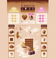 cacao chocolate icons healthy dessert food vector image vector image