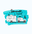 car towing caravan trailer or camper against vector image