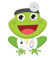 cartoon doctor frog vector image vector image