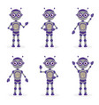 cartoon robot mascot set of objects in flat style vector image vector image