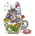 colored kawaii cute unicorn in a cup vector image
