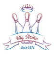crown and skittles bowling club logo vector image vector image