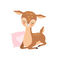 cute baby deer sleeping with pink pillow adorable