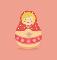 cute russian doll pink flower vector image vector image