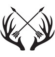 deer antlers and crossed arrows vector image vector image