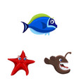 design of sea and animal symbol set of sea vector image