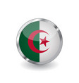 flag of algeria button with metal frame and vector image vector image