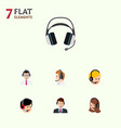 flat center set of earphone hotline call center vector image vector image