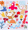 funny cute animal seamless pattern doodle cartoon vector image