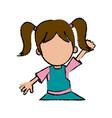 girl school student cartoon young cheerful cartoon vector image