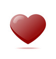 glossy red heart with shadow isolated icon vector image vector image