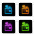 glowing neon wallet with coin icon isolated on vector image vector image