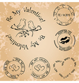 grunge stamps for valentine day - elements vector image