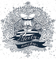 Hand drawn vintage label with a sailor vector image