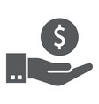 hand holding coin glyph icon finance and banking vector image vector image