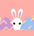 happy easter greeting card with bunny behind egg vector image vector image