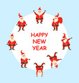 happy new year 2021 card set funny santa clause vector image vector image
