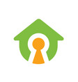 house symbol with keyhole logo design vector image