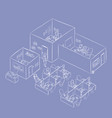 isometric office building working enviro vector image