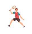 male tennis player with racket in his hand vector image