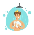 Man Washing Himself With Soap In Shower Part Of vector image vector image