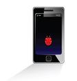 mobile phone with ladybug vector image vector image