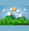 nature landscape with mountain and tree paper vector image vector image