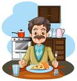 old man eating pizza on table vector image