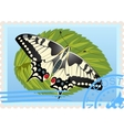 Postage stamp with a butterfly vector image vector image