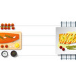 raw fresh salmon fish and grilled salmon steak vector image