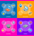 school equipments and tools banner set isometric vector image vector image