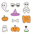 Set of cute colorful halloween doodles vector image vector image