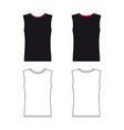 sleeveless t-shirt outlined template vector image vector image