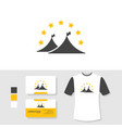 tent logo design with business card and t shirt vector image vector image