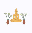 thai culture concept with buddha sketch vector image vector image