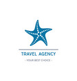 travel agency logo design with starfish vector image vector image