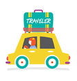 Travelers Car With Huge Luggage On The Rack vector image