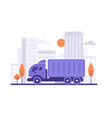 truck is carrying things on city background vector image vector image