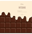 Vanilla cream melted on chocolate bar background vector image vector image