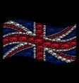 waving great britain flag mosaic of wheeled vector image vector image
