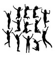 woman happy jumping expression silhouettes vector image vector image