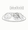 rosted pork rib rice hand draw sketch vector image