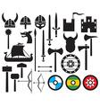 Viking icon set vector image