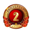 2 anniversary golden label with ribbon vector image vector image