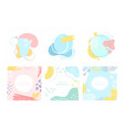 abstract pastel geometric shapes lines circles set vector image
