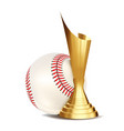 baseball game award baseball ball golden vector image vector image