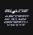 blade letters set slashed alphabet vector image vector image