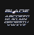 blade letters set slashed alphabet with vector image vector image