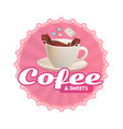cafe sticker design template coffee chocolate vector image