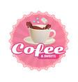 cafe sticker design template coffee chocolate vector image
